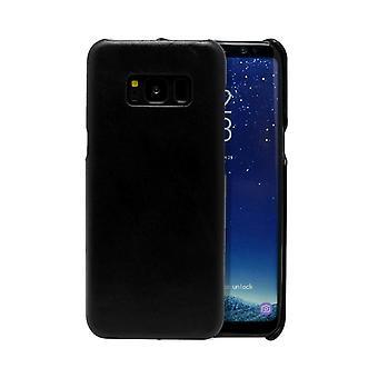 Für Samsung Galaxy S8 Fall, moderne echte langlebige Schutzleder-Abdeckung, schwarz