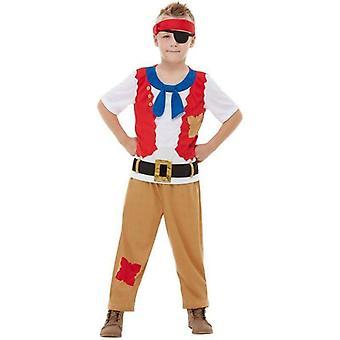 恐ろしい歴史 海賊乗組員の衣装子供赤