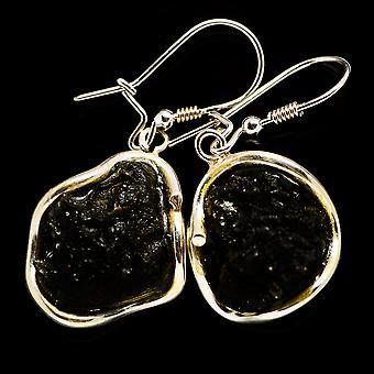 التشيكية Moldavite 925 الجنيه الاسترليني الفضة الأقراط 1 1/2 & -- اليدوية بوهو خمر مجوهرات EARR392379