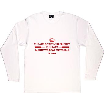 Jim Laker Aim da camiseta de manga comprida branca de críquete inglês