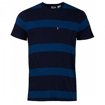 Levi's Striped Crew Neck T-Shirt With Pocket Navy Blue 29813 0076