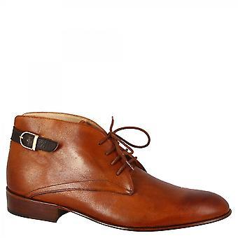 Leonardo Shoes Women's handmade chukka boots tan goat leather dark brown buckle