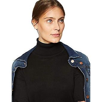 Chaps Women's Long Sleeve Turtle Neck Cotton-Sweater, Black,, Black, Size Large