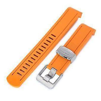 Strapcode Gummi Uhr Armband 20mm Crafter blau - orange Gummi gebogen lug Armband für Seiko Sumo sbdc001