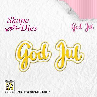 Nellie's Choice Shape Die - text Swedish God Jul SD155