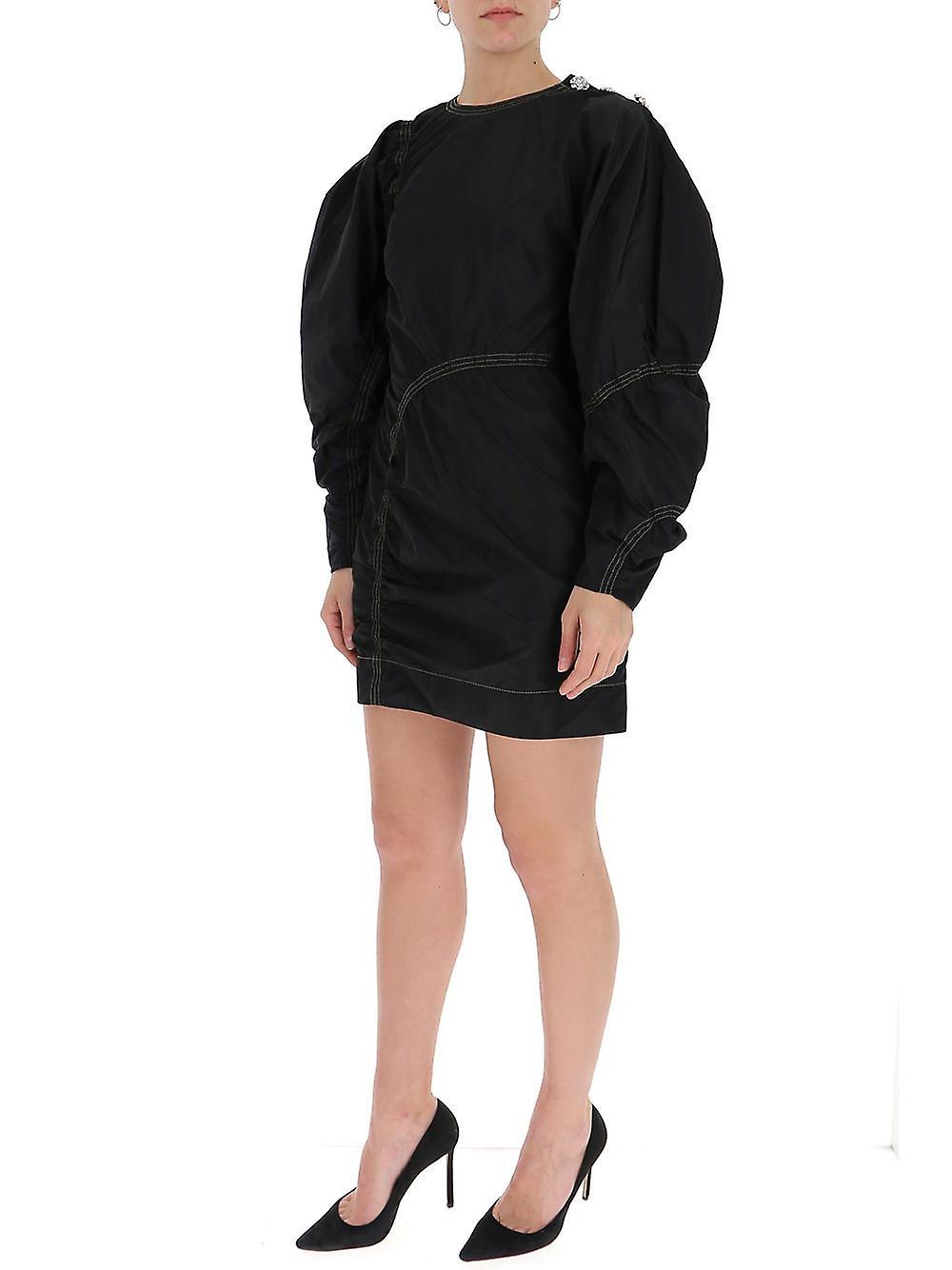 Ganni F4343099 Women-apos;s Robe en coton noir mvcVRk