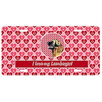 Carolines Treasures  LH9168LP Leonberger Valentine's Love and Hearts License Pla