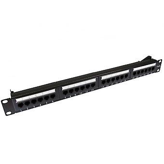 REYTID 24 Port Cat5e RJ45 1U Mountable Network Patch Panel with Cable Management Support Bar - 19