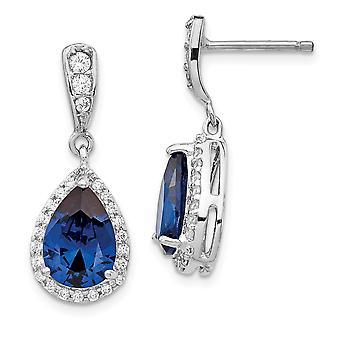 925 Sterling Silver Simulated Rhodium plaqué Cubic Zirconia Synthetic Blue Spinel Dangle Post Boucles d'oreilles Bijoux Bijoux pour