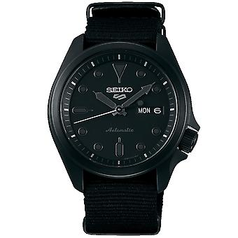 Seiko 5 Sports Black Dial Black Nylon Strap Men's Watch SRPE69K1