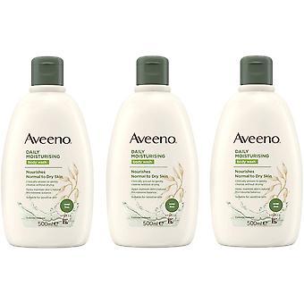 3 x 500ml Aveeno Codziennie Nawilżający myjnia ciała Normalna/Sucha/Wrażliwa skóra