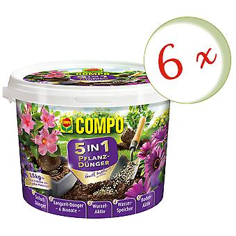 Sparset: 6 x COMPO 5in1 plant fertilizer and more, 1.5 kg