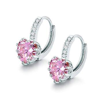Heart shaped blushing pink diamond cz solitaire hoop earrings for woman