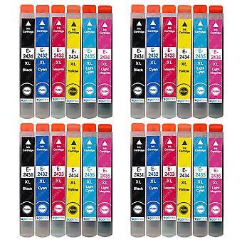 4 Juego de 6 cartuchos de tinta para reemplazar Epson T2438 (Serie 24XL) Compatible/no OEM de Tintas Go (24 Tintas)