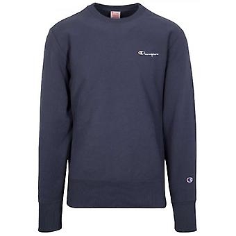 Champion Reverse Weave Navy Blue Logo Sweatshirt