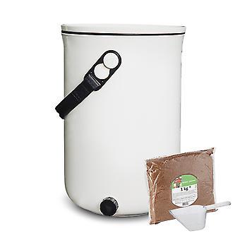 Skaza Bokashi Organko 2 | Palkittu keittiökotsikotti kierrätetystä muovista | 9,6 L | Aloitussetti keittiöjätteille ja kompostointiin | EM-sadetus 1 kg | Kerma Valkoinen
