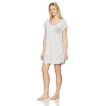 Brand - Mae Women's Sleepwear Pocket Nightgown, Grey Stripe, S