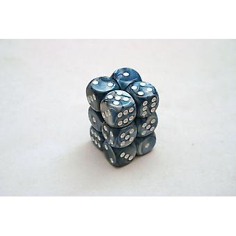 Chessex 16mm D6 Block of 12 - Lustrous Slate/white