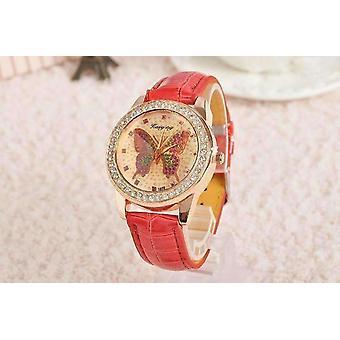 Scintillante farfalla rosa oro signore orologio in pelle per donna