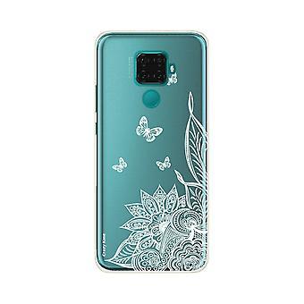 Hülle für Huawei Mate 30 Lite Flexible Mandala Blume Und Schmetterlinge Weiß
