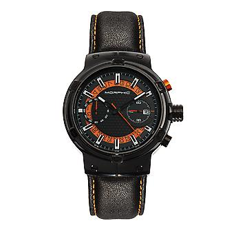 Morphic M91 Series Chronograph Leather-Band Watch w/Date - Noir/Orange