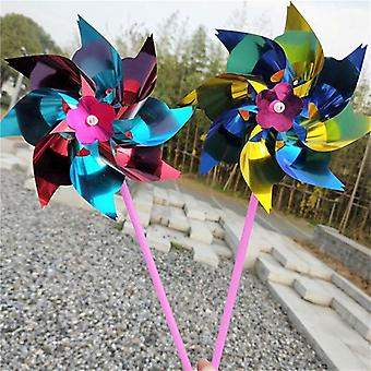 Diy  Pinwheels, Windmill Rainbow Set For Garden Lawn Decor