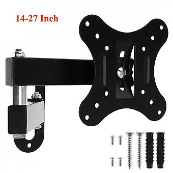 10kg Adjustable 14-27 Inch Tv Wall Mount Bracket Flat Panel Tv Frame Support 15 Degrees Tilt With Small Wrench For Led Monitor