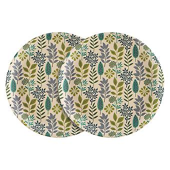 Nicola Spring 6 piezas eco-friendly bamboo cena platos set - 18cm - hoja