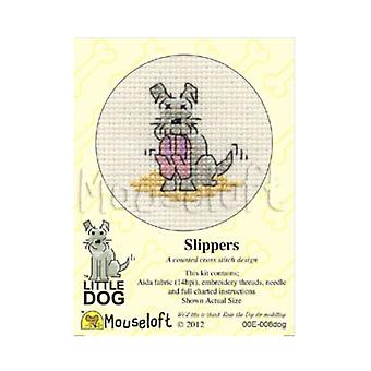 Slippers Little Dog Mini Counted Cross Stitch Kit
