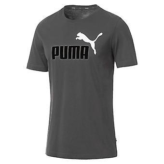 Puma Essentials 2 لون شعار Mens قصير الأكمام القطن تي شيرت تي غراي