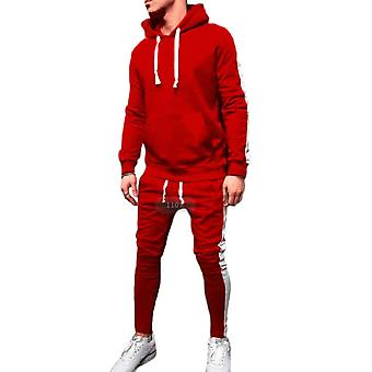 Gemdeck Men's Gym Contrast Jogging Full Tracksuit Hoodies Fleece Joggers Set