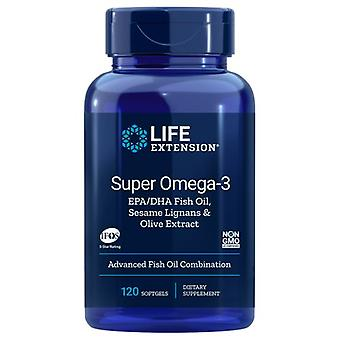 تمديد الحياة سوبر أوميغا-3 وكالة حماية البيئة/هيئة الصحة بدبي مع Lignans السمسم & مستخلص فاكهة الزيتون، 120 هلام لينة