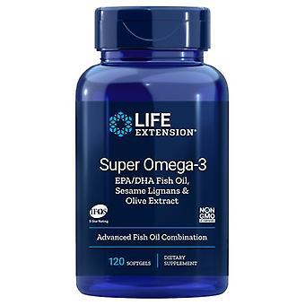 Life Extension Super Omega-3 EPA/DHA with Sesame Lignans & Olive Fruit Extract, 120 Soft Gels