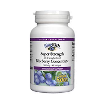 Natuurlijke factoren BlueRich Super Sterkte Concentraat, 500 mg, Blueberry 90 Caps