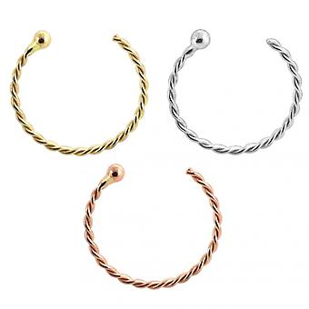 9K Gold Twister Open Hoop with Ball Nose Ring