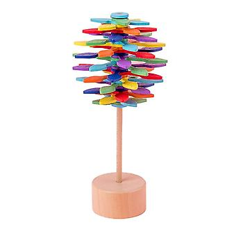 Wooden Colorful Rotating Rod Decompression Toy, Creative Lollipop, Office Game