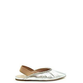 Miu Miu Ezbc057037 Zapatillas de Cuero de Plata Para Mujer's