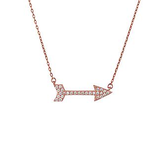 Pink White Silver Arrow Archery CZ Gemstone Gift Rose Gold Link Pendant Necklace