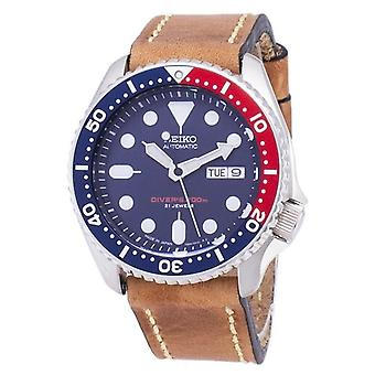 Seiko Automatico Skx009j1-ls17 Diver's 200m Japan Made Brown Leather Strap Men's Watch