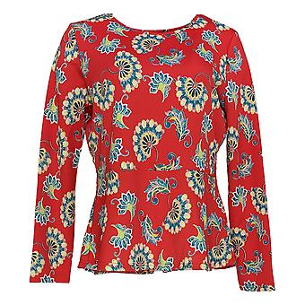Caya Costa Women's Top Red Tunic Floral Print Polyester Long Sleeve 595-923