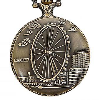 DEFFRUN Vintage London Eye Muster antike Bronze Quarz Taschenuhr