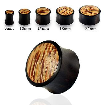 0 Gauge ( 8MM ) Double Flared Natural Coco in Black Iron Wood Convex Saddle Gauge Ear Plug