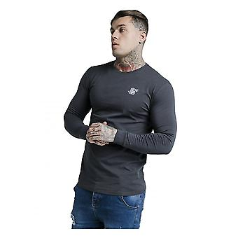 Sik Silk Siksilk Long Sleeve Gym Tee T-shirt Navy