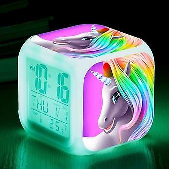 Kids Cartoon Unicorn Alarm Clock Night Light With Thermometer
