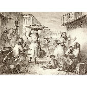 حياة الشارع كوبا هافانا في 1880S من بوستيربرينت توضيح في القرن التاسع عشر