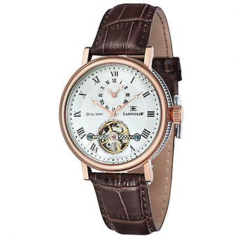 Thomas Earnshaw ES-8047-05 Beaufort Dual Time Two Tone & Brown Leather Automatic Watch