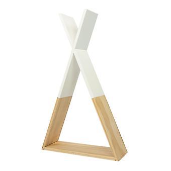 Puckdaddy Półka ścienna Hugo 30x10x40 cm Ozdobna półka w tipi design w białym / nature przedszkola