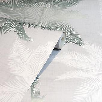 Palm Tree Luxe Grey & Duck Egg Wallpaper Trendy Modern Feature Wall High Quality
