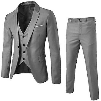 3 Piec Men Business Blazer +vest +pants Suit Sets  Office Workingmal