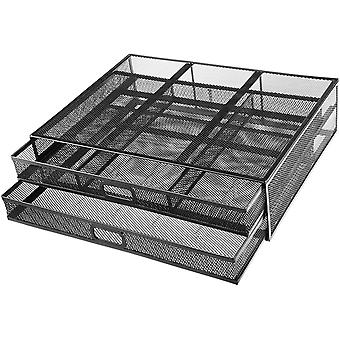 HUANUO Monitor Stand with 2 Storage Drawers - Metal Mesh Desk Organisers